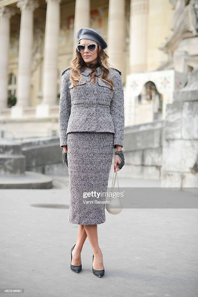 Adelya Bakhtiyarova poses wearing a Chanel total look during day 3 of Paris Haute Couture Spring Summer 2015 on January 27, 2015 in Paris, France.