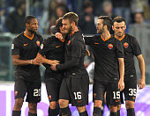 Adem Ljaijc of AS Roma with his teammates celebrates after scoring the third team's goal during the Serie A match between AS Roma and Torino FC at...