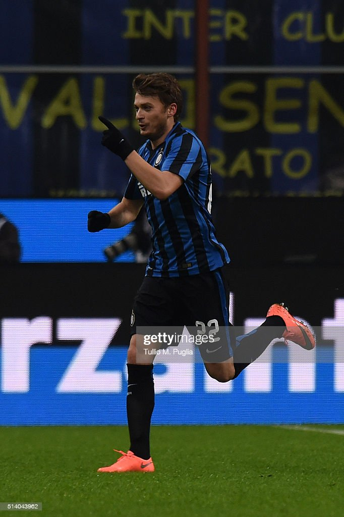 Adem Ljaijc (R) of Inter celebrates after scoring the opening goal during the Serie A match between FC Internazionale Milano and US Citta di Palermo at Stadio Giuseppe Meazza on March 6, 2016 in Milan, Italy.