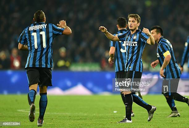 Adem Ljajic and Jonathan Biabiany of Internazionale Milano celebrate a goal 21 scored by Adem Ljajic during the Serie A match between SSC Napoli and...
