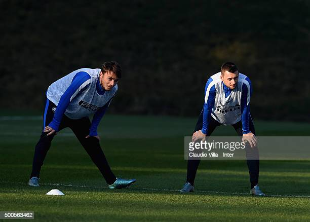 Adem Ljajic and Marcelo Brozovic look on during the FC Internazionale training session at the club's training ground at Appiano Gentile on at Appiano...
