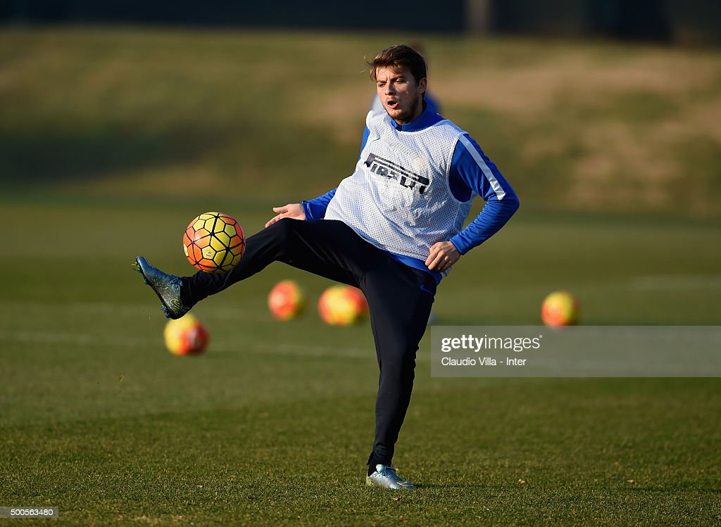 Adem Ljajic in action during the FC Internazionale training session at the club's training ground at Appiano Gentile on at Appiano Gentile on December 09, 2015 in Como, Italy.