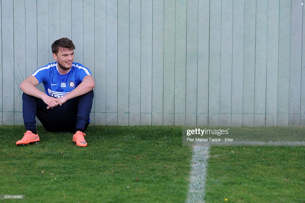 Adem Ljajic looks on during the FC Internazionale training session at Appiano Gentile on April 11, 2016 in Como, Italy.