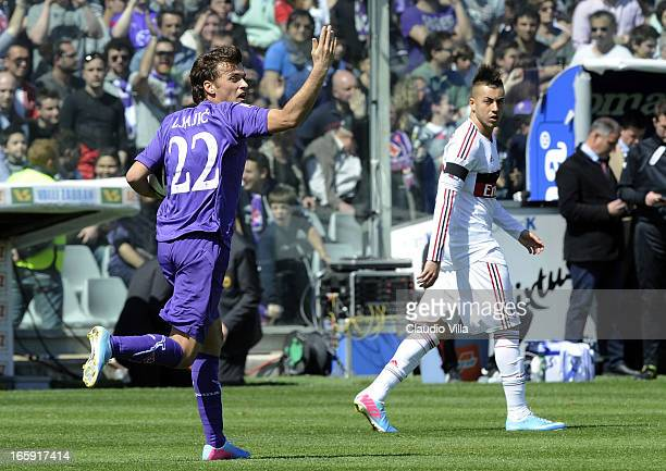 Adem Ljajic of ACF Fiorentina celebrates after scoring his team's first goal from a penalty during the Serie A match between ACF Fiorentina and AC...