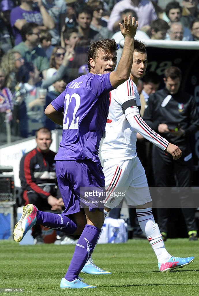 Adem Ljajic of ACF Fiorentina celebrates after scoring his team's first goal from a penalty during the Serie A match between ACF Fiorentina and AC Milan at Stadio Artemio Franchi on April 7, 2013 in Florence, Italy.