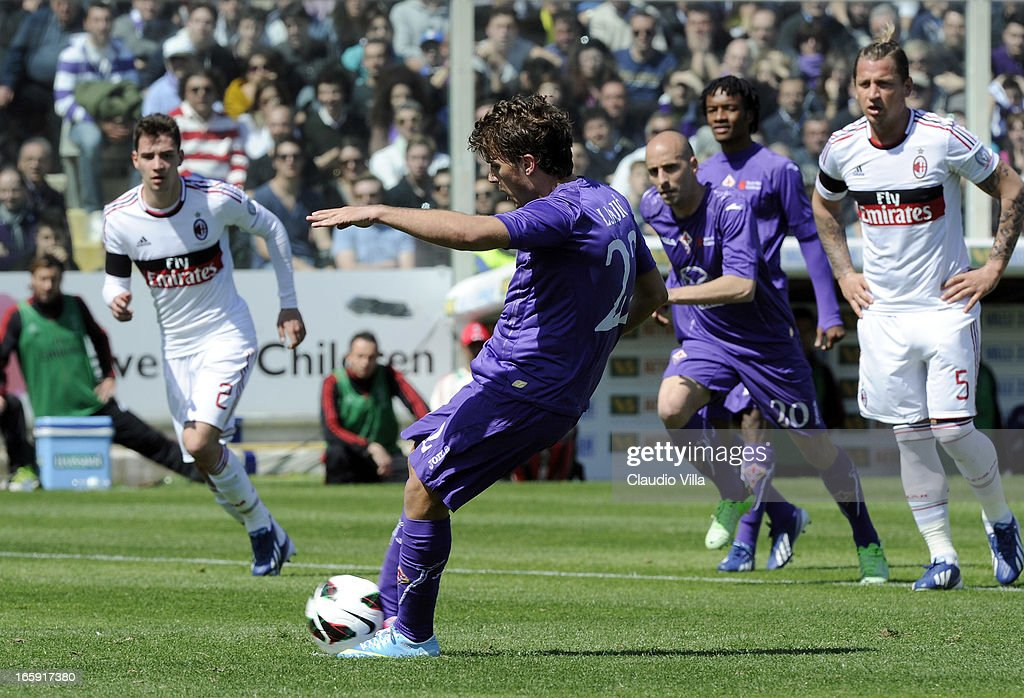 Adem Ljajic of ACF Fiorentina scores his team's first goal from a penalty during the Serie A match between ACF Fiorentina and AC Milan at Stadio Artemio Franchi on April 7, 2013 in Florence, Italy.