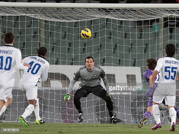 Adem Ljajic of ACF Fiorentina scores the opening goal during the Serie A match between ACF Fiorentina and FC Internazionale Milano at Stadio Artemio...