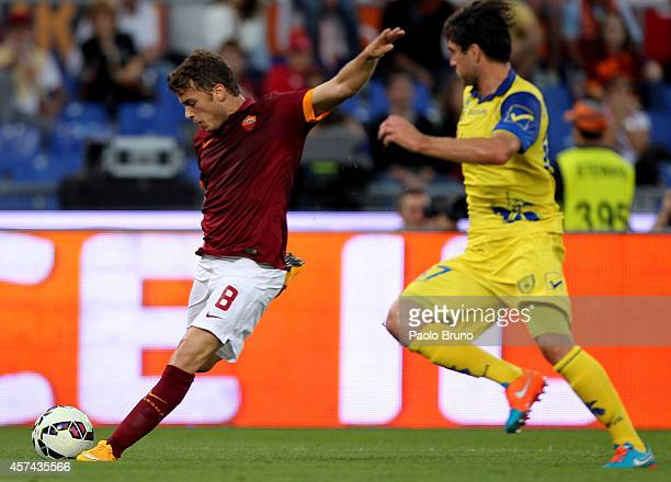 Adem Ljajic of AS Roma scores the second team's goal during the Serie A match between AS Roma and AC Chievo Verona at Stadio Olimpico on October 18...
