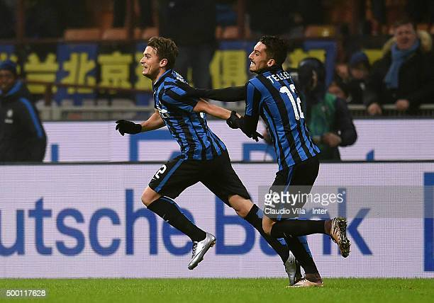 Adem Ljajic of FC Internazionale celebrates after scoring the opening goal during the Serie A match between FC Internazionale Milano and Genoa CFC at...