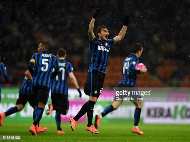 Adem Ljajic of FC Internazionale celebrates during the TIM Cup match between FC Internazionale Milano and Juventus FC at Stadio Giuseppe Meazza on...