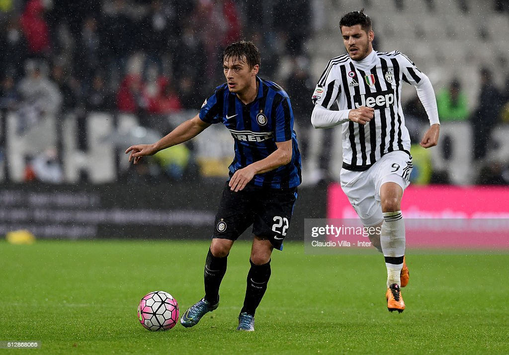 Adem Ljajic of FC Internazionale (L) in action during the Serie A match between Juventus FC and FC Internazionale Milano at Juventus Arena on February 28, 2016 in Turin, Italy.