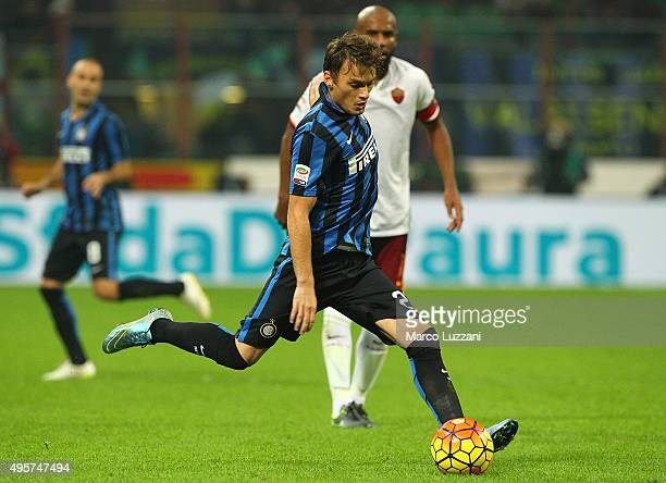 Adem Ljajic of FC Internazionale Milano in action during the Serie A match between FC Internazionale Milano and AS Roma at Stadio Giuseppe Meazza on...