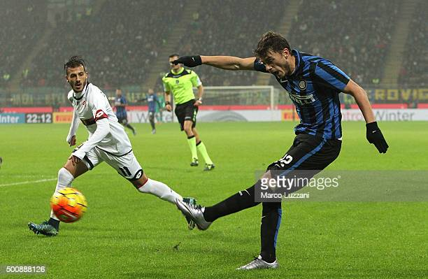 Adem Ljajic of FC Internazionale Milano kicks a ball during the Serie A match between FC Internazionale Milano and Genoa CFC at Stadio Giuseppe...