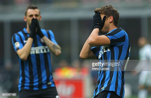 Adem Ljajic of FC Internazionale Milano reacts to a missed chance during the Serie A match between FC Internazionale Milano and US Sassuolo Calcio at...