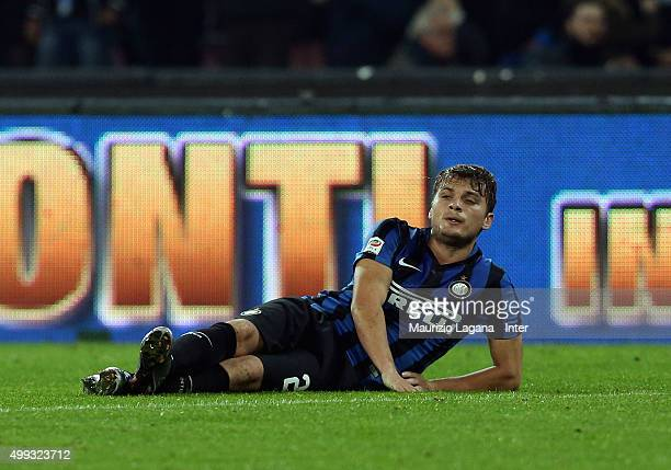 Adem Ljajic of FC Internazionale Milano shows his dejection during the Serie A match between SSC Napoli and FC Internazionale Milano at Stadio San...