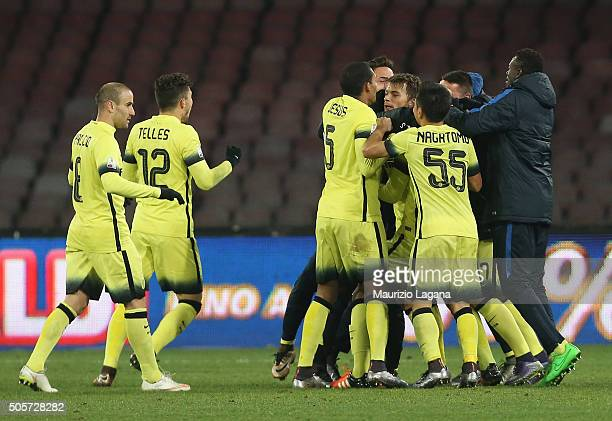 Adem Ljajic of Inter celebrates after scoring his team's second gpoal during the TIM Cup match between SSC Napoli and FC Internazionale Milano at...