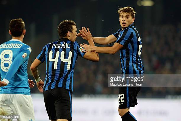 Adem Ljajic of Inter celebrates his goal during the Serie A match between SSC Napoli and FC Internazionale Milano at Stadio San Paolo on November 30...