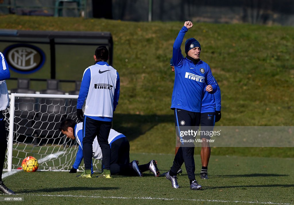 Adem Ljajic reacts during the FC Internazionale training session at the club's training ground at Appiano Gentile on at Appiano Gentile on November 29, 2015 in Como, Italy.