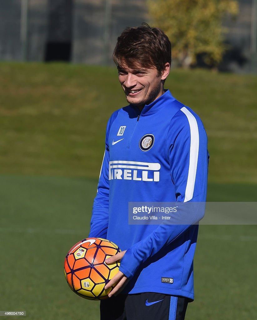 Adem Ljajic smiles during a FC Internazionale training session at the club's training ground at Appiano Gentile on November 6, 2015 in Como, Italy.