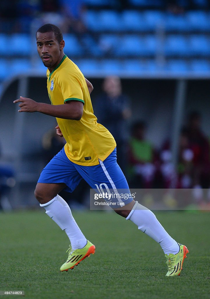 <a gi-track='captionPersonalityLinkClicked' href=/galleries/search?phrase=Ademilson+-+Soccer+Player&family=editorial&specificpeople=7885844 ng-click='$event.stopPropagation()'>Ademilson</a> of Brazil during the Toulon Tournament Group B match between Brazil and Qatar at the Leo Legrange Stadium on May 30, 2014 in Toulon, France.