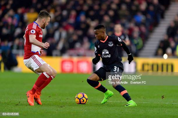 Ademola Lookman and Calum Chambers during the Premier League match between Middlesbrough and Everton at the Riverside Stadium on February 11 2017 in...