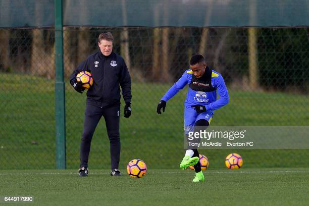 Ademola Lookman and Erwin Koeman during the Everton FC training session at USM Finch Farm on February 24 2017 in Halewood England