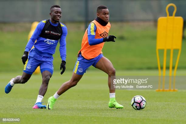 Ademola Lookman and Idrissa Gueye during the Everton FC training session at USM Finch Farm on March 16 2017 in Halewood England