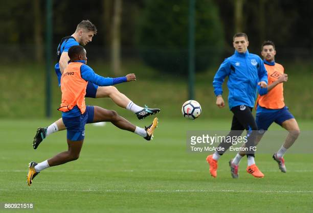 Ademola Lookman and Jonjoe Kenny during the Everton training session at USM Finch Farm on October 13 2017 in Halewood England