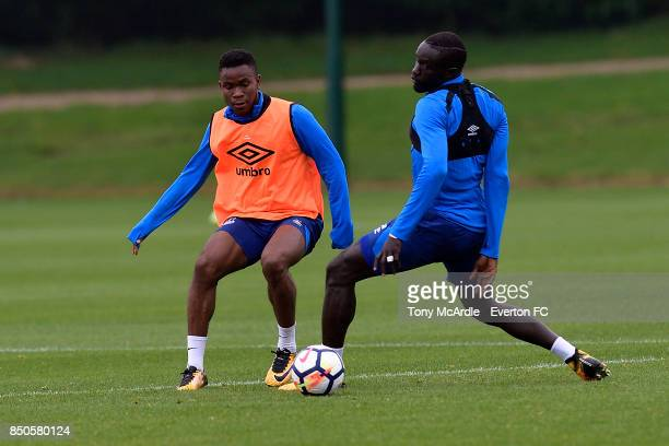 Ademola Lookman and Oumar Niasse challenge for the ball during the Everton training session at USM Finch Farm on September 21 2017 in Halewood England