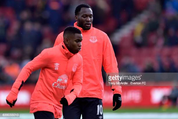 Ademola Lookman and Romelu Lukaku before the Premier League match between Middlesbrough and Everton at the Riverside Stadium on February 11 2017 in...