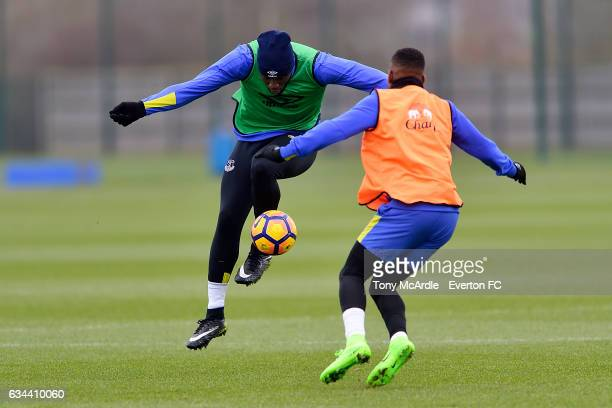 Ademola Lookman and Romelu Lukaku challenge for the ball during the Everton FC training session at USM Finch Farm on February 9 2017 in Halewood...