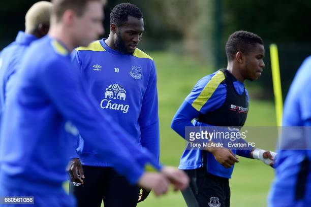 Ademola Lookman and Romelu Lukaku during the Everton FC training session at USM Finch Farm on March 30 2017 in Halewood England