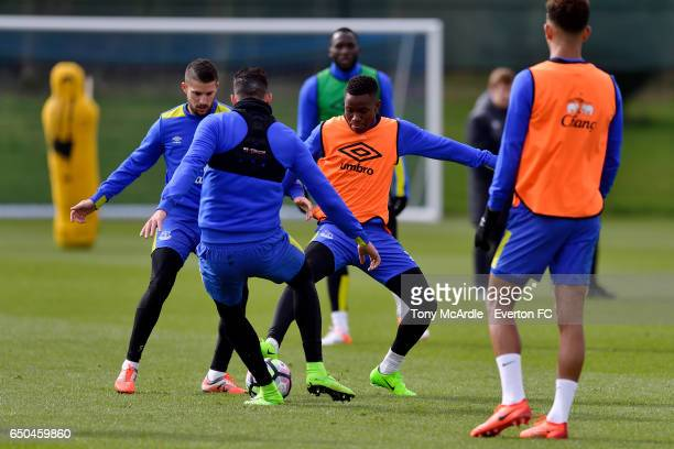 Ademola Lookman and team mates during the Everton FC training session at USM Finch Farm on March 9 2017 in Halewood England