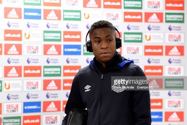Ademola Lookman arrives before the Premier League match between Middlesbrough and Everton at the Riverside Stadium on February 11 2017 in...