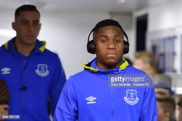 Ademola Lookman arrives before the Premier League match between Tottenham Hotspur and Everton at White Hart Lane on March 5 2017 in London United...