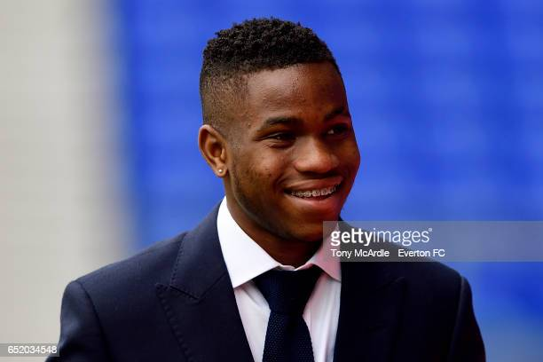 Ademola Lookman arrives before the Premier League match between Everton and West Bromwich Albion at the Goodison Park on March 11 2017 in Liverpool...