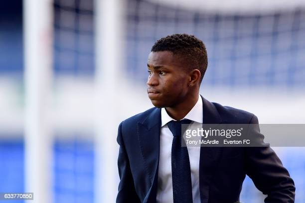Ademola Lookman arrives for the Premier League match between Everton and AFC Bournemouth at Goodison Park on February 4 2017 in Liverpool England