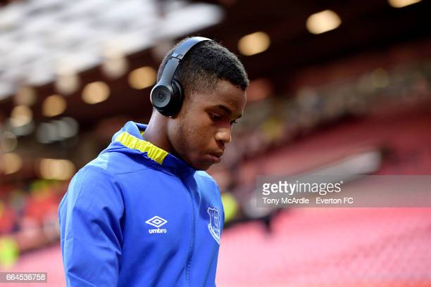 Ademola Lookman before the Premier League match between Manchester United and Everton at Old Trafford on April 4 2017 in Manchester England