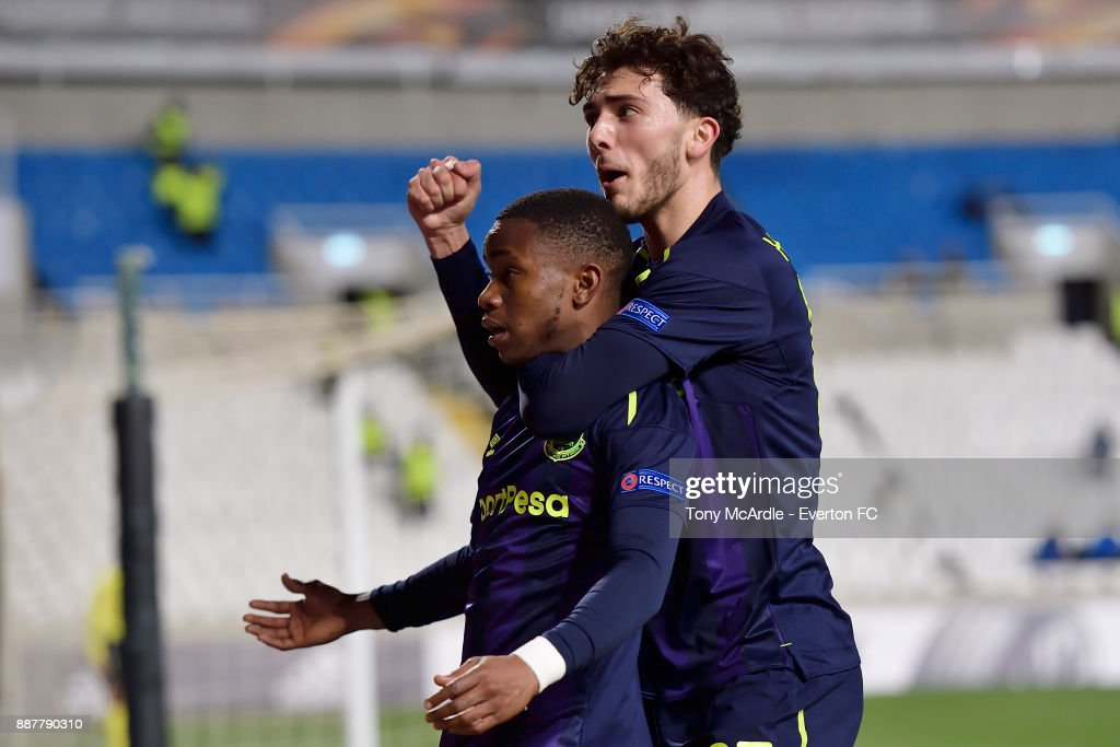 Ademola Lookman celebrates his goal with Fraser Hornby during the UEFA Europa League Group E match between Apollon Limassol and Everton at GSP Stadium on December 7, 2017 in Nicosia, Cyprus.
