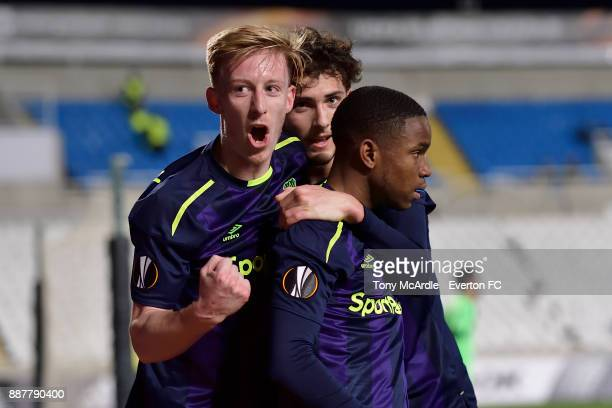 Ademola Lookman celebrates his goal with Harry Charsley during the UEFA Europa League Group E match between Apollon Limassol and Everton at GSP...