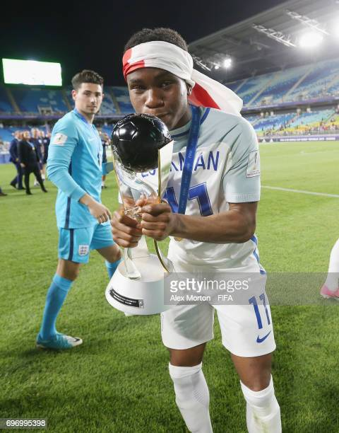 Ademola Lookman celebrates with the trophy after the FIFA U20 World Cup Korea Republic 2017 Final match between Venezuela and England at Suwon World...