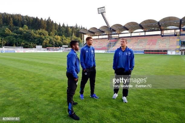 Ademola Lookman Dominic CalvertLewin and Phil Jagielka of Everton visit MFK Ruzomberok's Stadium on August 2 2017 in Ruzomberok Slovakia