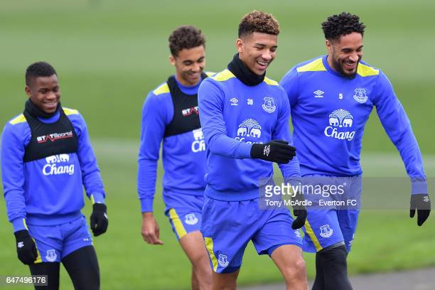 Ademola Lookman Dominic CalvertLewin Mason Holgate and Ashley Williams during the Everton FC training session at USM Finch Farm on March 3 2017 in...