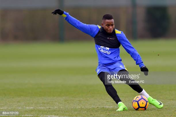 Ademola Lookman during the Everton FC training session at USM Finch Farm on February 9 2017 in Halewood England