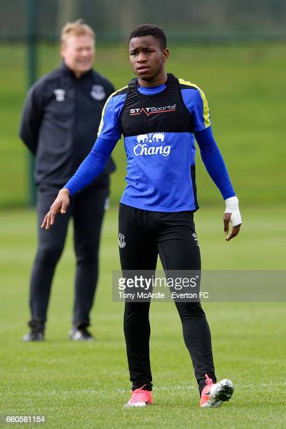 Ademola Lookman during the Everton FC training session at USM Finch Farm on March 30 2017 in Halewood England