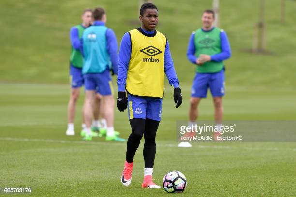 Ademola Lookman during the Everton FC training session at USM Finch Farm on April 7 2017 in Halewood England