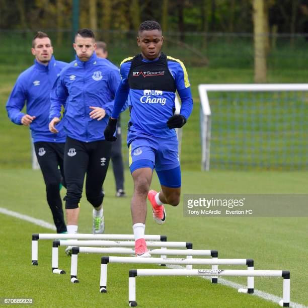 Ademola Lookman during the Everton training session at USM Finch Farm on April 20 2017 in Halewood England