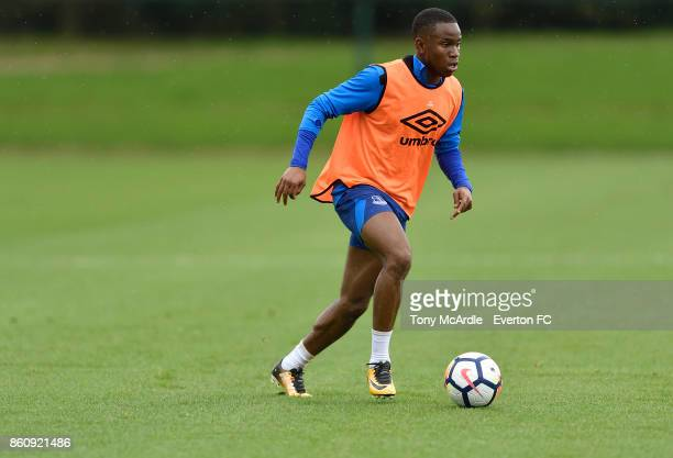 Ademola Lookman during the Everton training session at USM Finch Farm on October 13 2017 in Halewood England