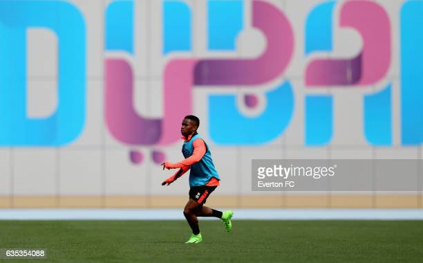 Ademola Lookman in action during the Everton FC training session at Nad Al Sheba Sports Complex on February 14 2017 in Dubai United Arab Emirates
