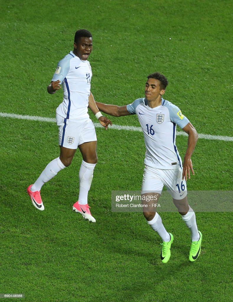 Ademola Lookman of England celebrates with Dominic Calvert-Lewin after scoring a goal during the FIFA U-20 World Cup Korea Republic 2017 Round of 16 match between England and Costa Rica at Jeonju World Cup Stadium on May 31, 2017 in Jeonju, South Korea.